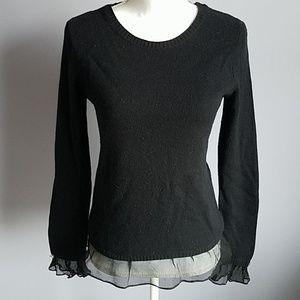 Anthro Moth Ruffle Trim Pullover Sweater
